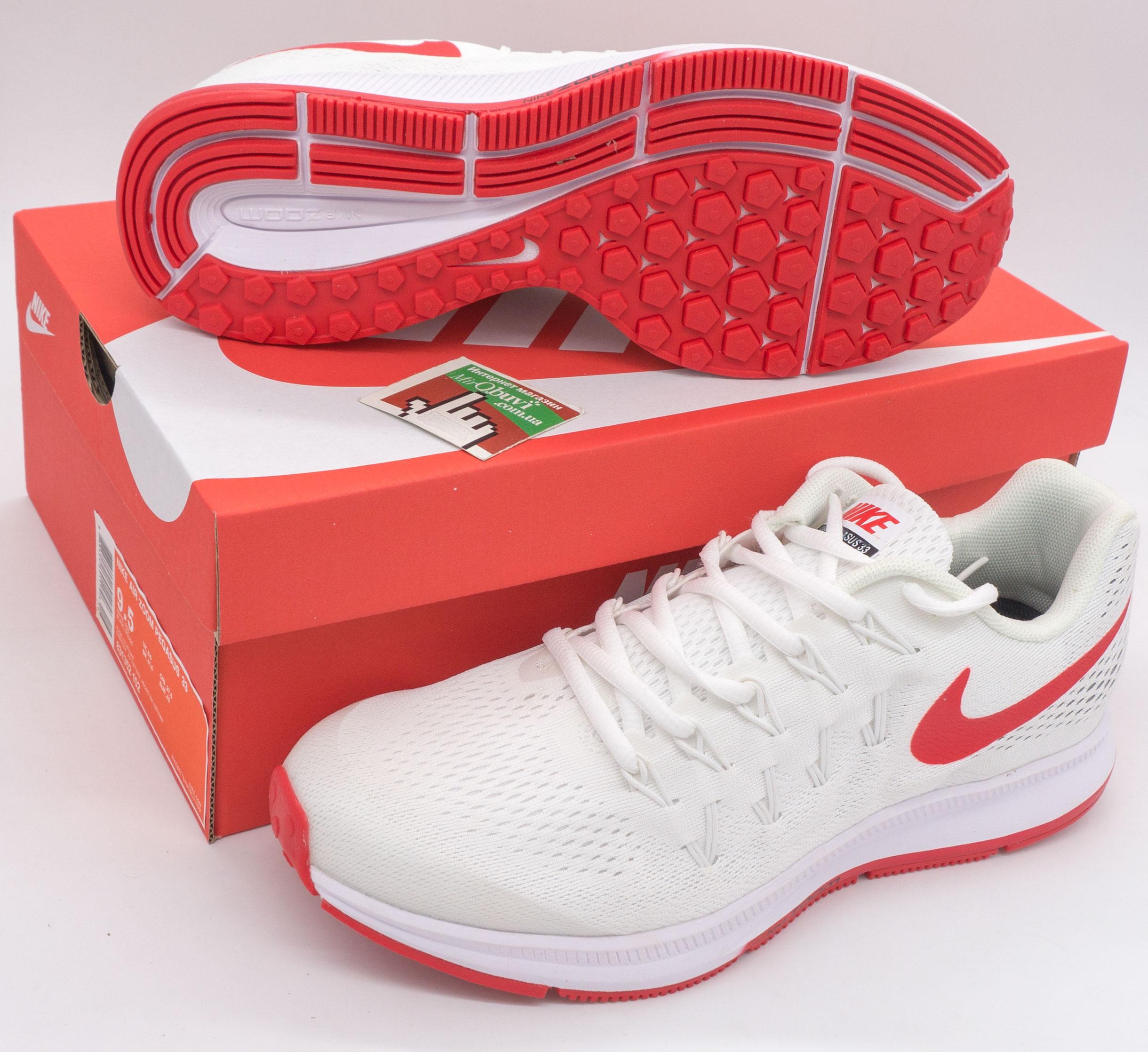 фото bottom Мужские кроссовки для бега Nike Zoom Pegasus 33 белые с красным. Топ качество! bottom