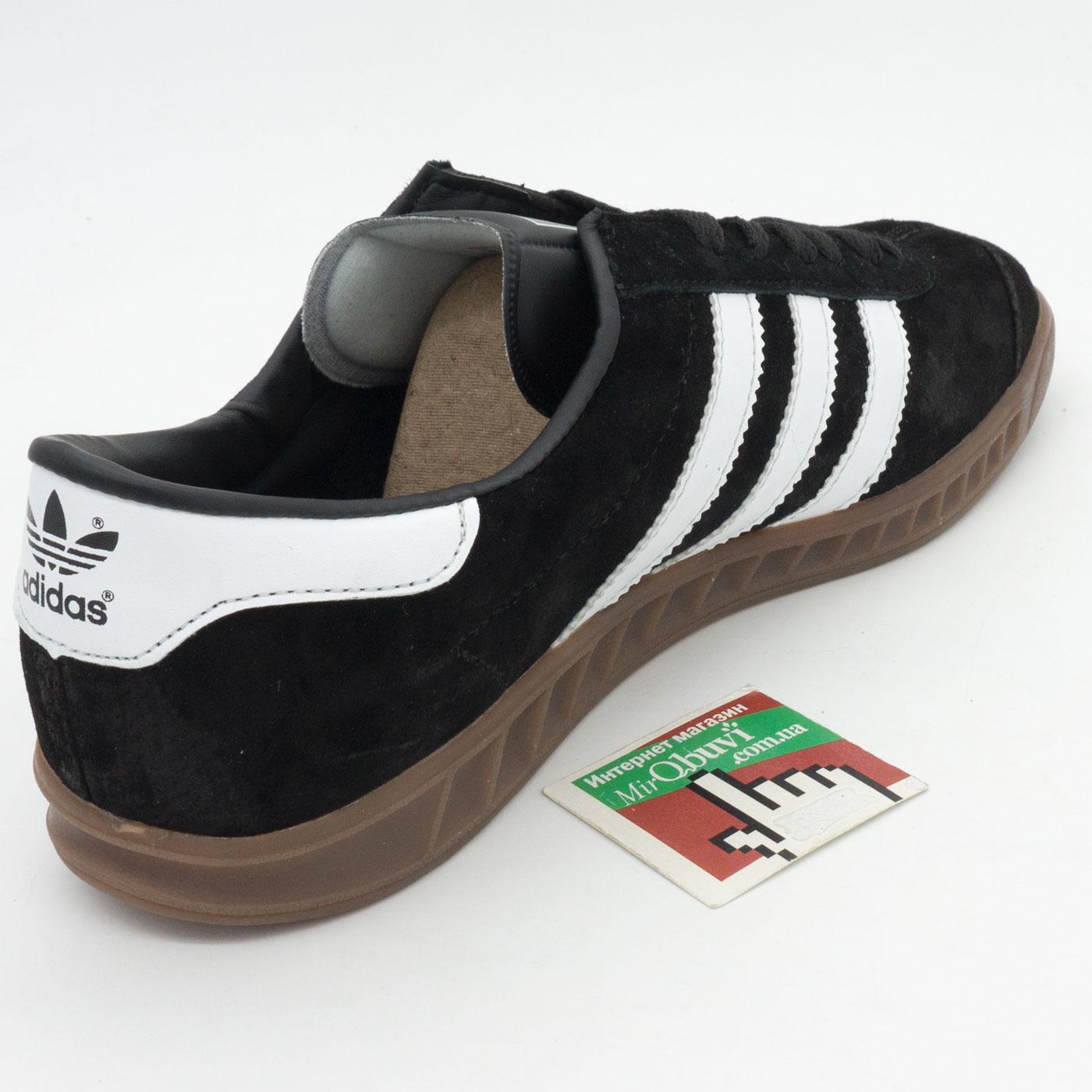 фото back Кроссовки Adidas Hamburg черные с коричневой подошвой Vietnam back