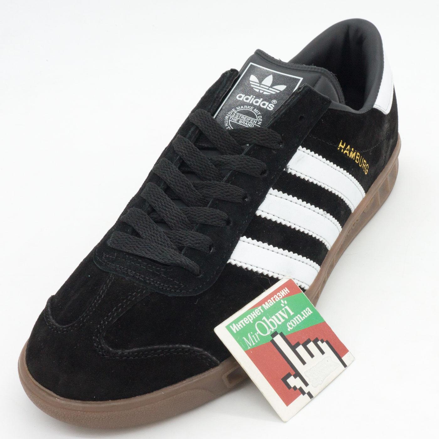 фото front Кроссовки Adidas Hamburg черные с коричневой подошвой Vietnam front