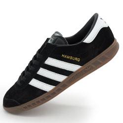 Кроссовки Adidas Hamburg черные с коричневой подошвой Vietnam