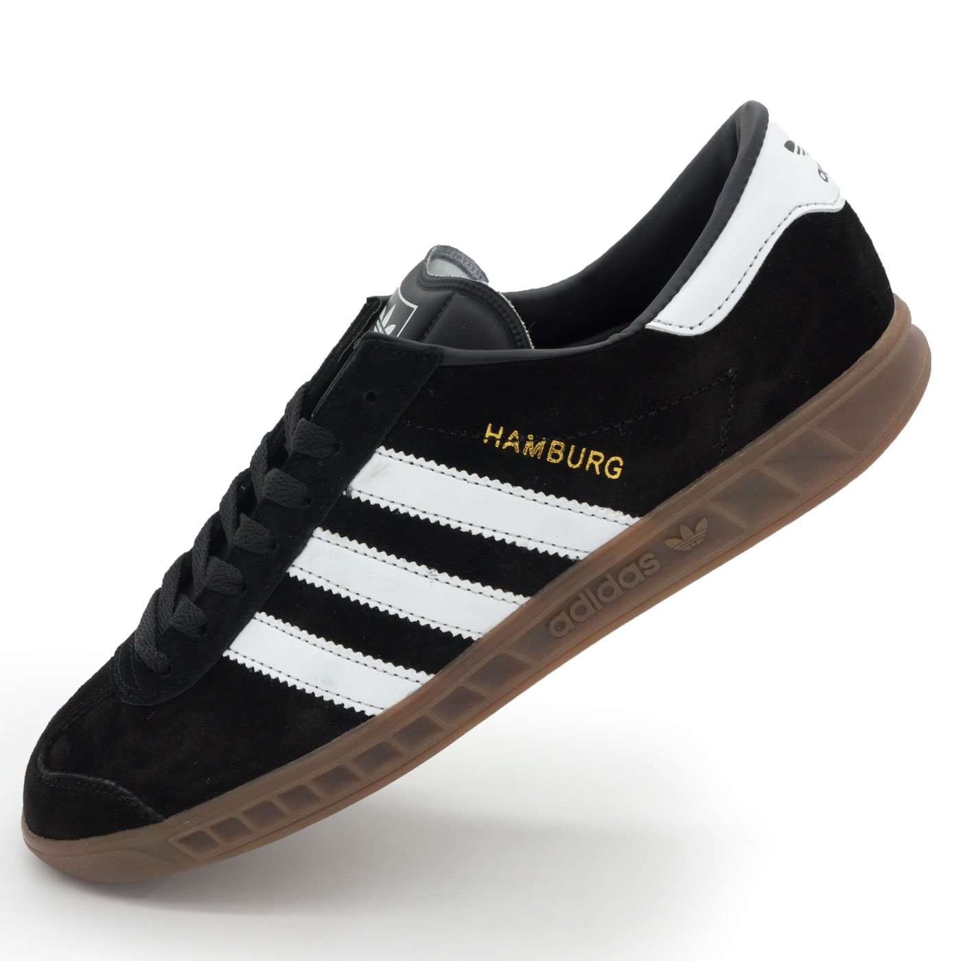 фото main Кроссовки Adidas Hamburg черные с коричневой подошвой Vietnam main