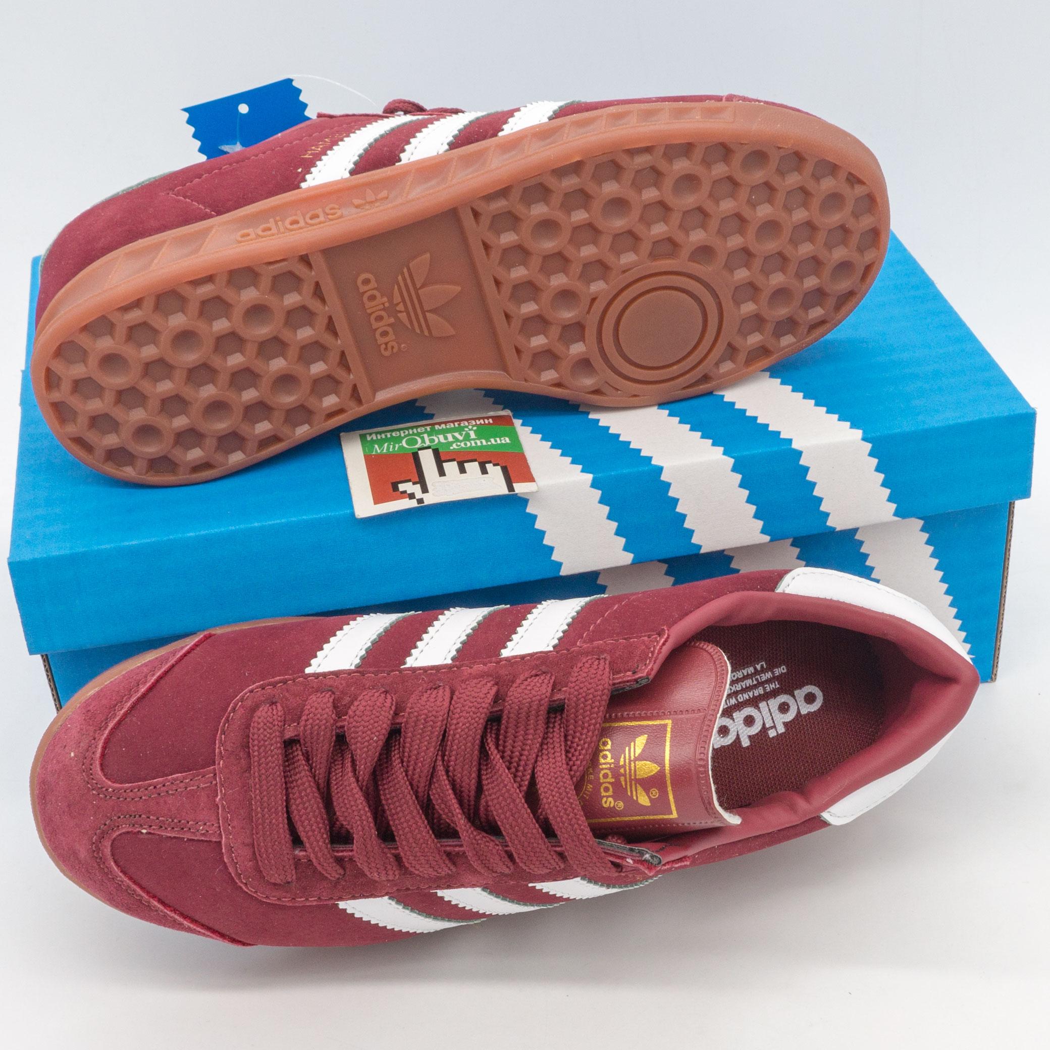 фото bottom Бордовые женские кроссовки Adidas Hamburg - Vietnam bottom
