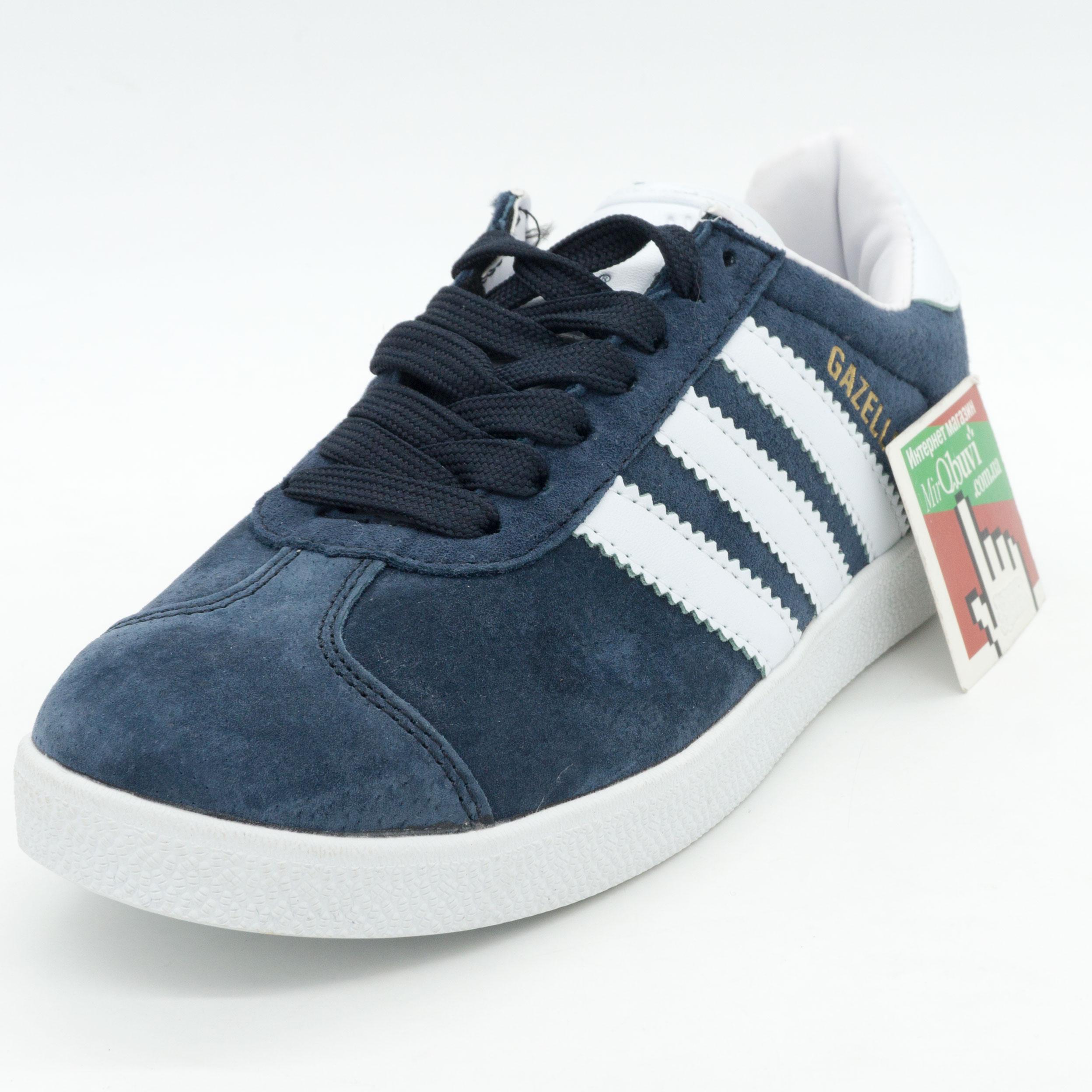 фото front Синие кроссовки Adidas Gazelle нтуральная замша Indonesia front