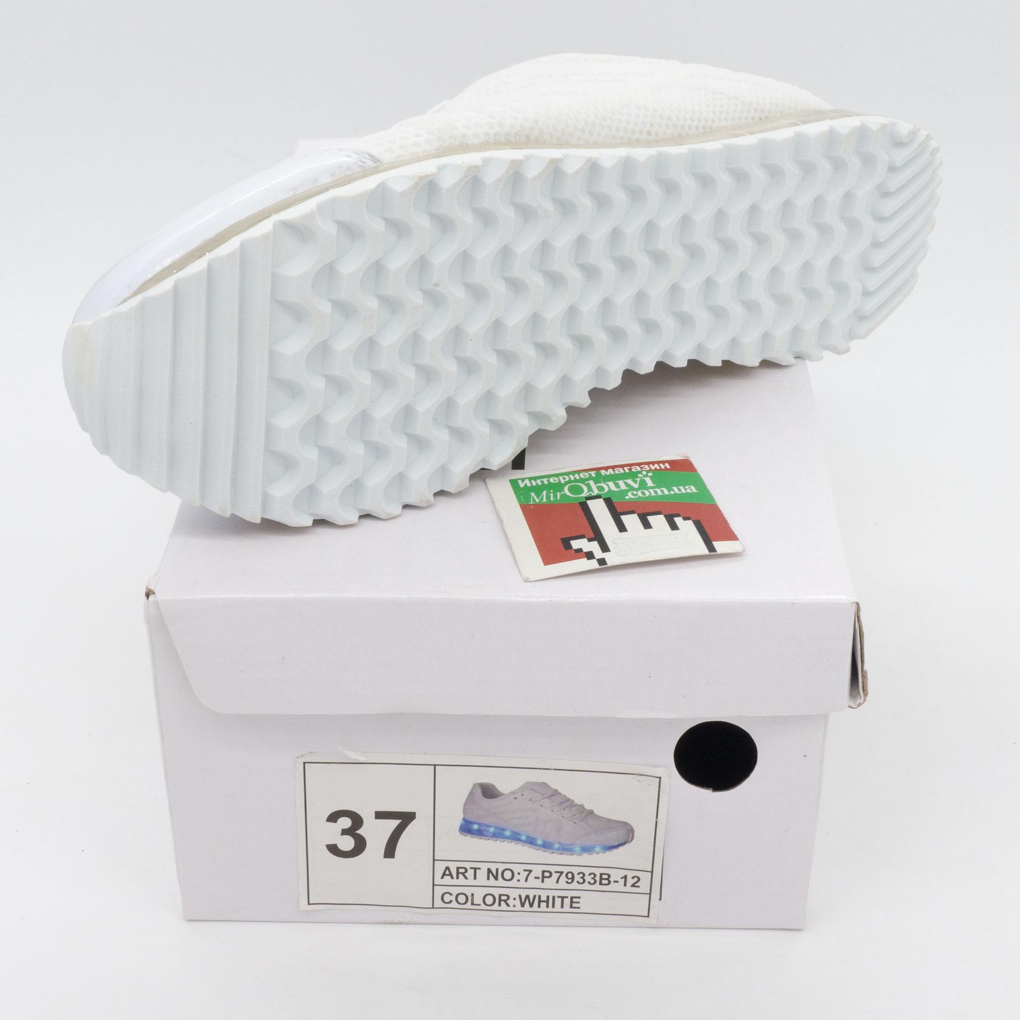 фото back Белые светящиеся кроссовки с прозрачной подошвой back