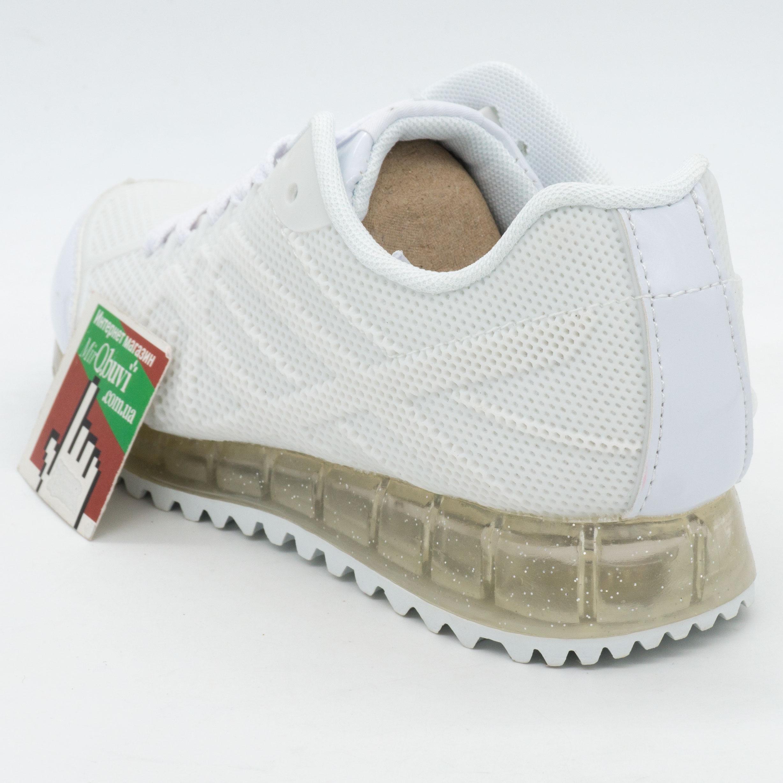фото bottom Белые светящиеся кроссовки с прозрачной подошвой bottom