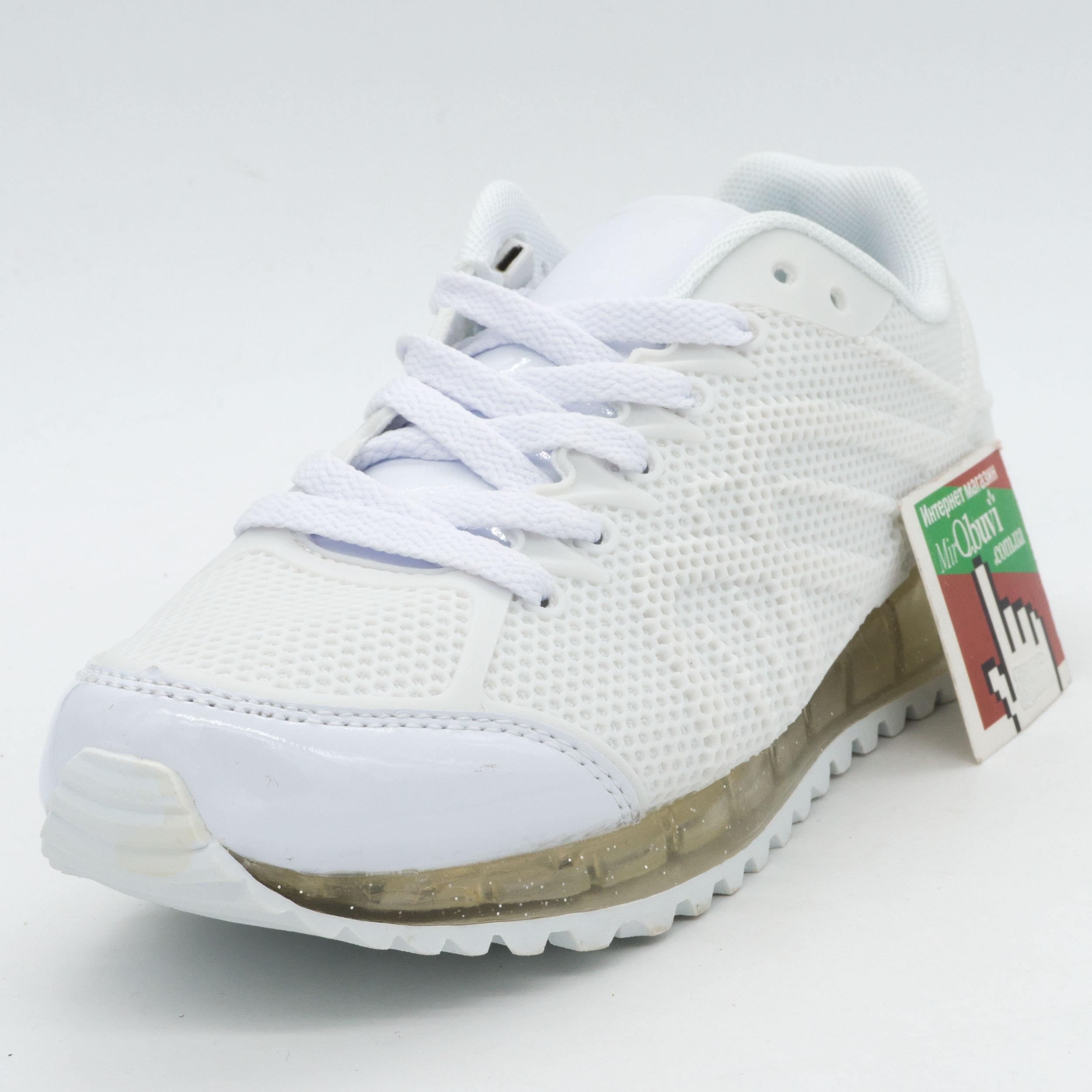 фото front Белые светящиеся кроссовки с прозрачной подошвой front