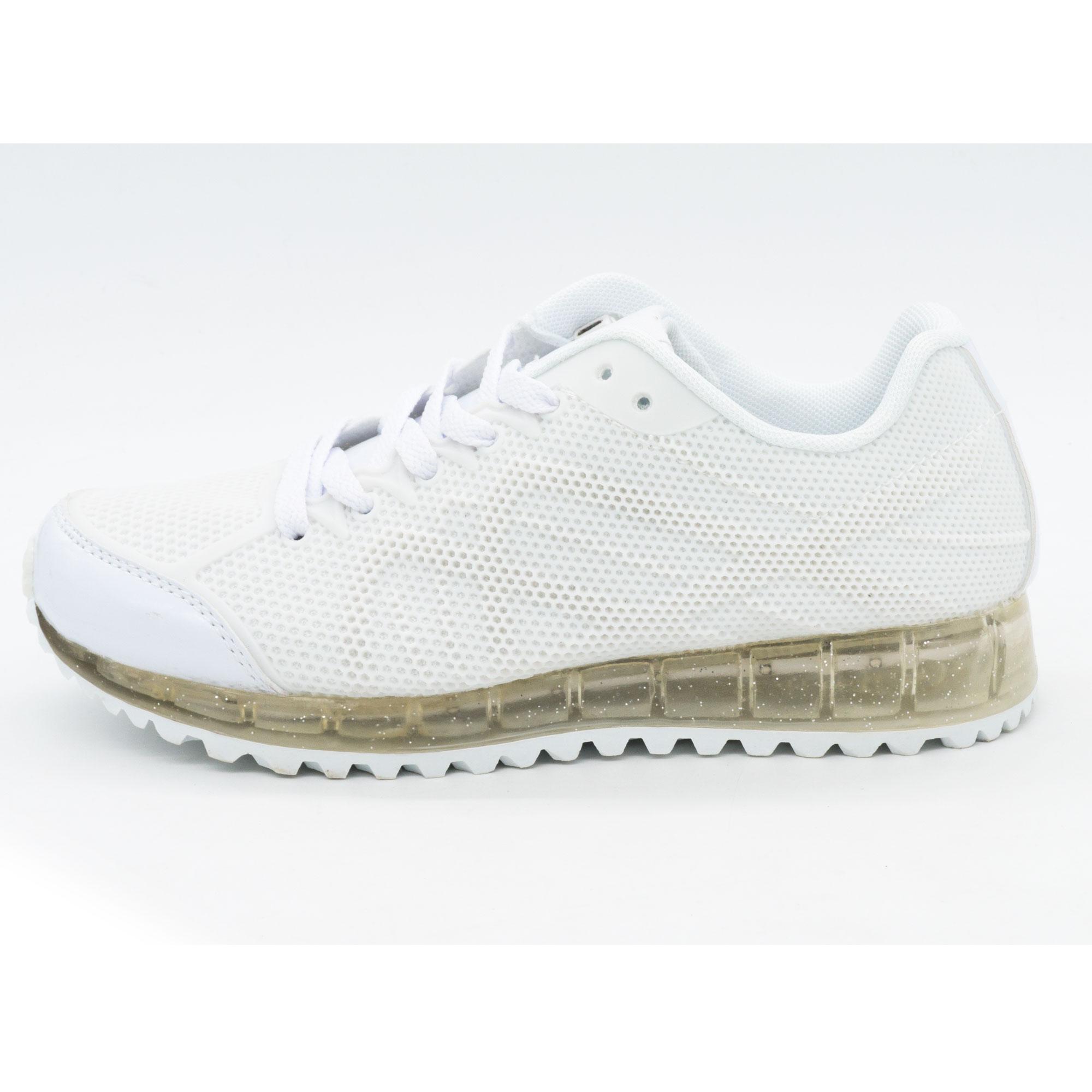 фото main Белые светящиеся кроссовки с прозрачной подошвой main