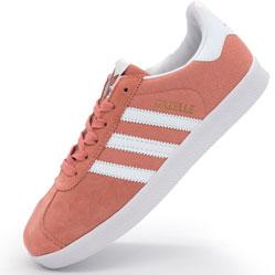 Женские кроссовки Adidas Gazelle цвета персик, замша