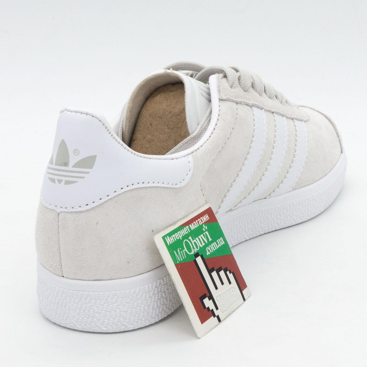 фото back Светло серые кроссовки Adidas Gazelle натуральная замша,  Vietnam - Топ качество! back