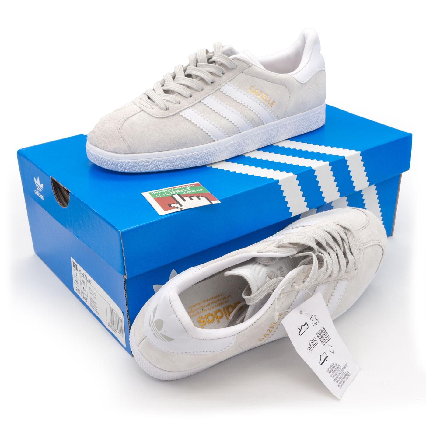 ... фото main Светло серые кроссовки Adidas Gazelle натуральная замша 64991198fd6c1