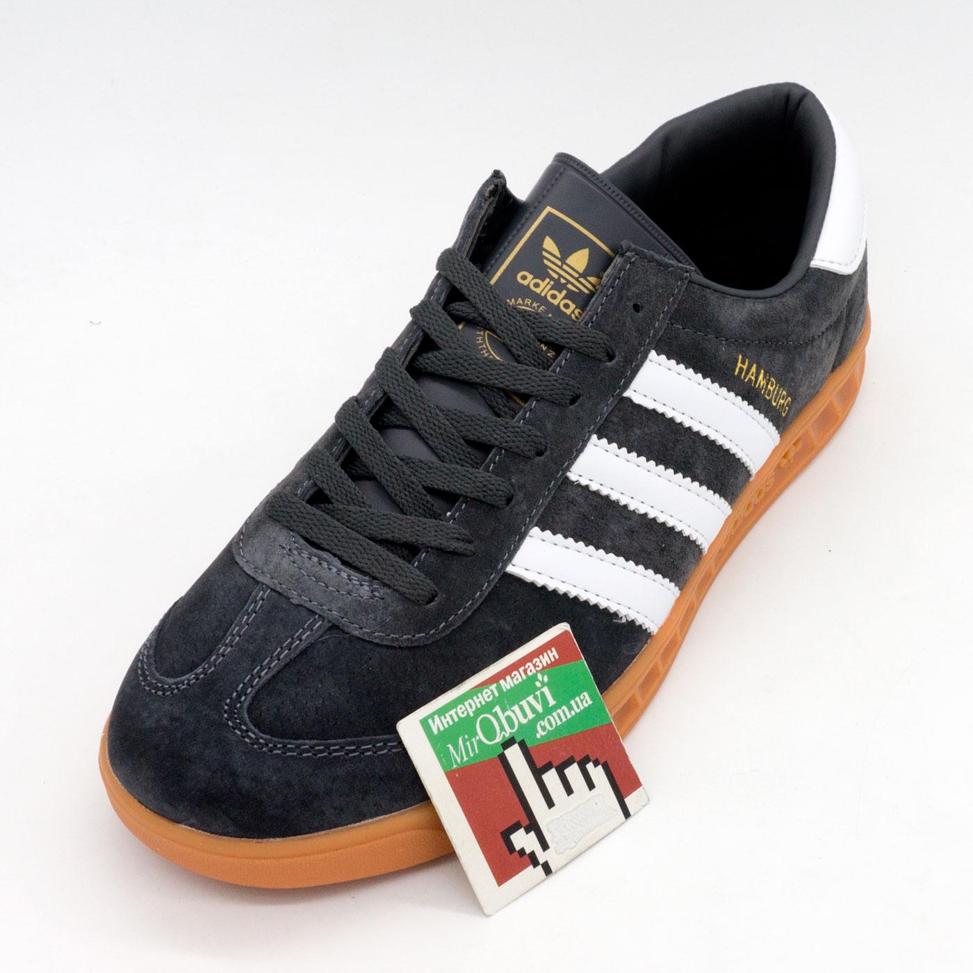 фото front Темно серые мужские кроссовки Adidas Hamburg front