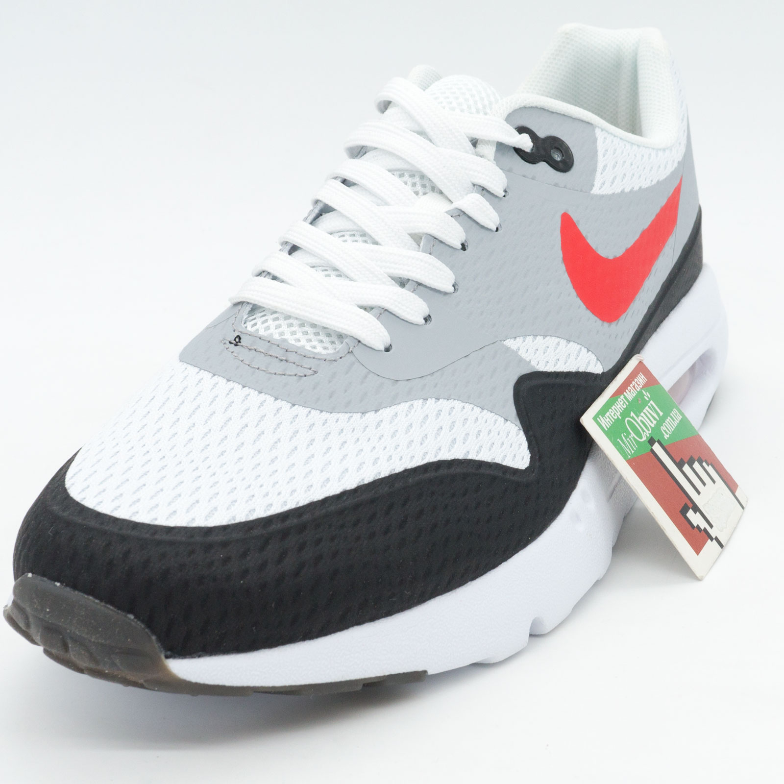 фото front Мужские кроссовки Nike air max Ultra Flyknit серые с красным front