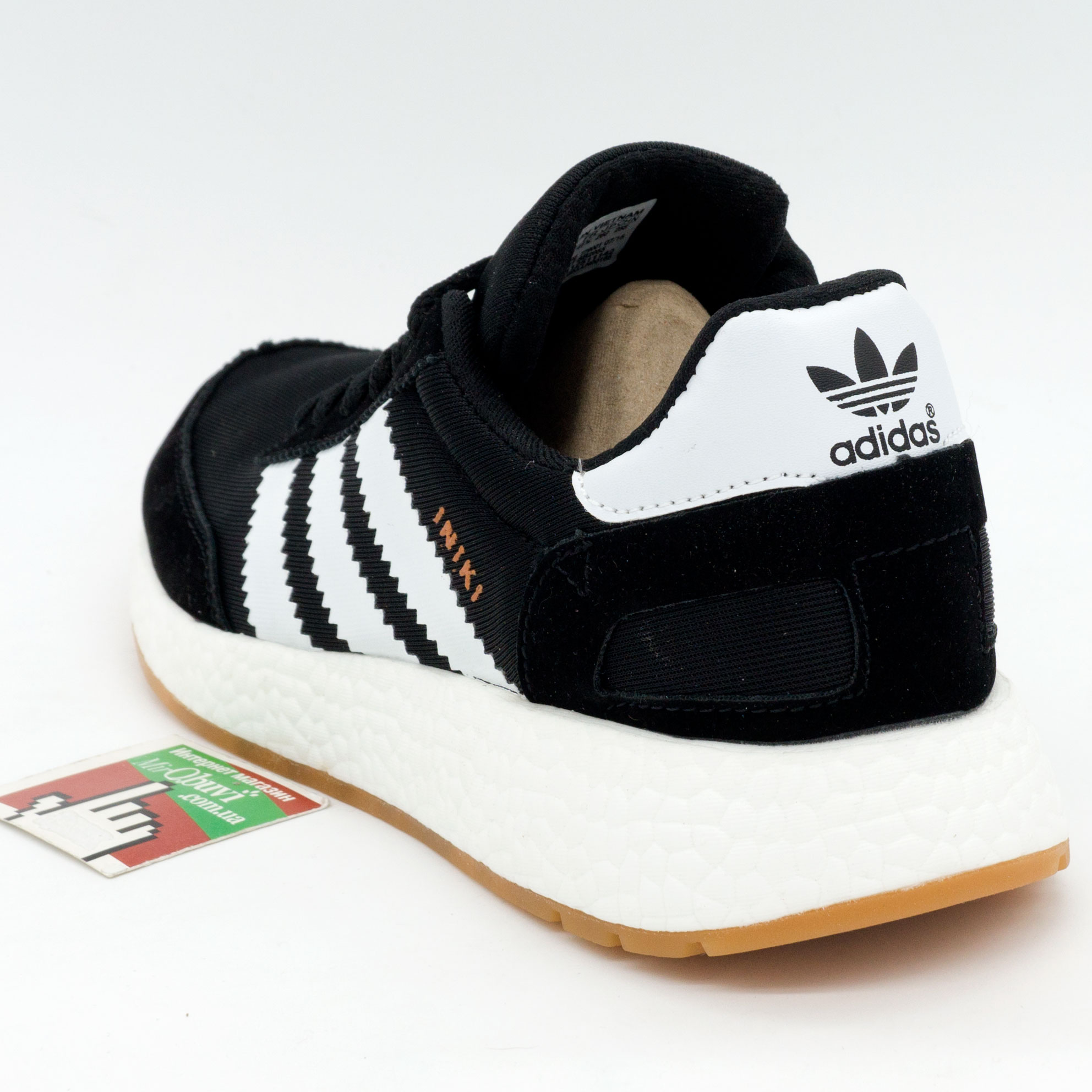 фото back Кроссовки для бега Adidas Iniki Runner черные с белыми полосками back