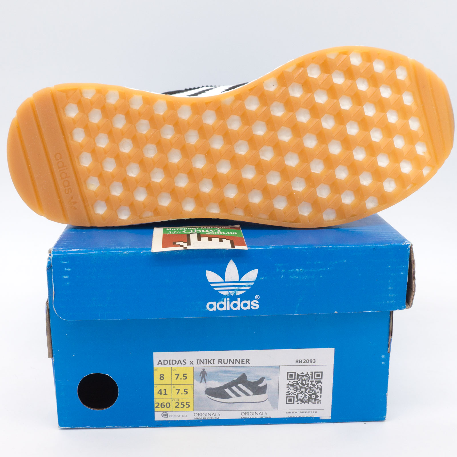 фото bottom Кроссовки для бега Adidas Iniki Runner черные с белыми полосками bottom