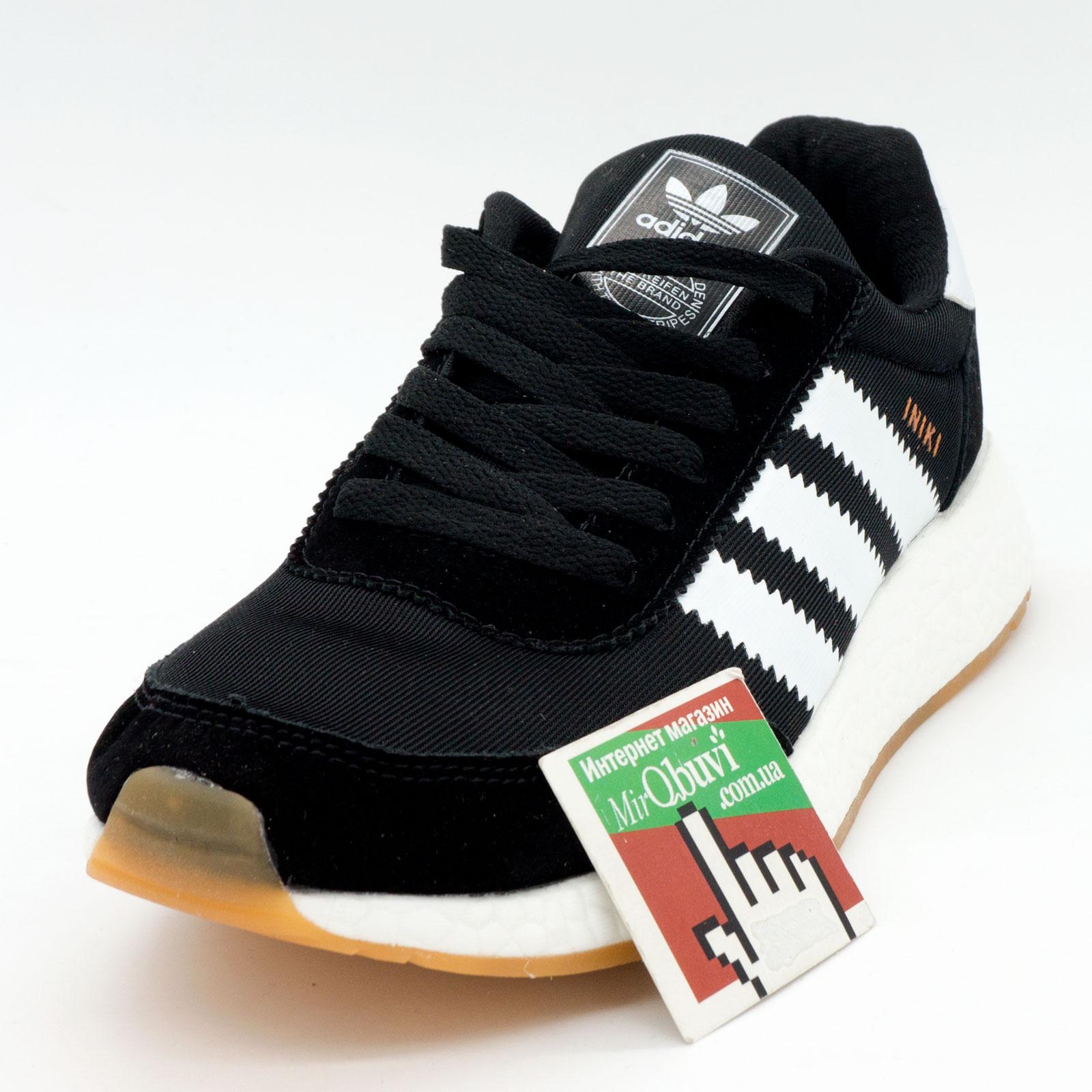 фото front Кроссовки для бега Adidas Iniki Runner черные с белыми полосками front