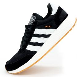 Кроссовки для бега Adidas Iniki Runner черные с белыми полосками