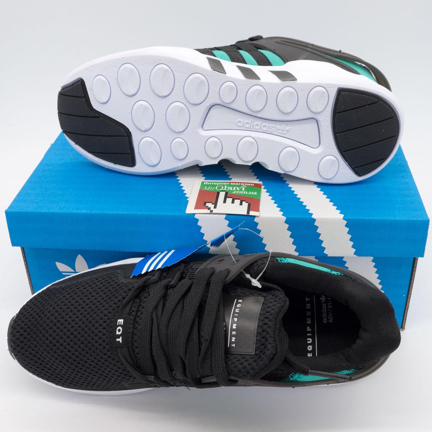 фото bottom Кроссовки Adidas Equipment support (EQT) черные с зеленым bottom