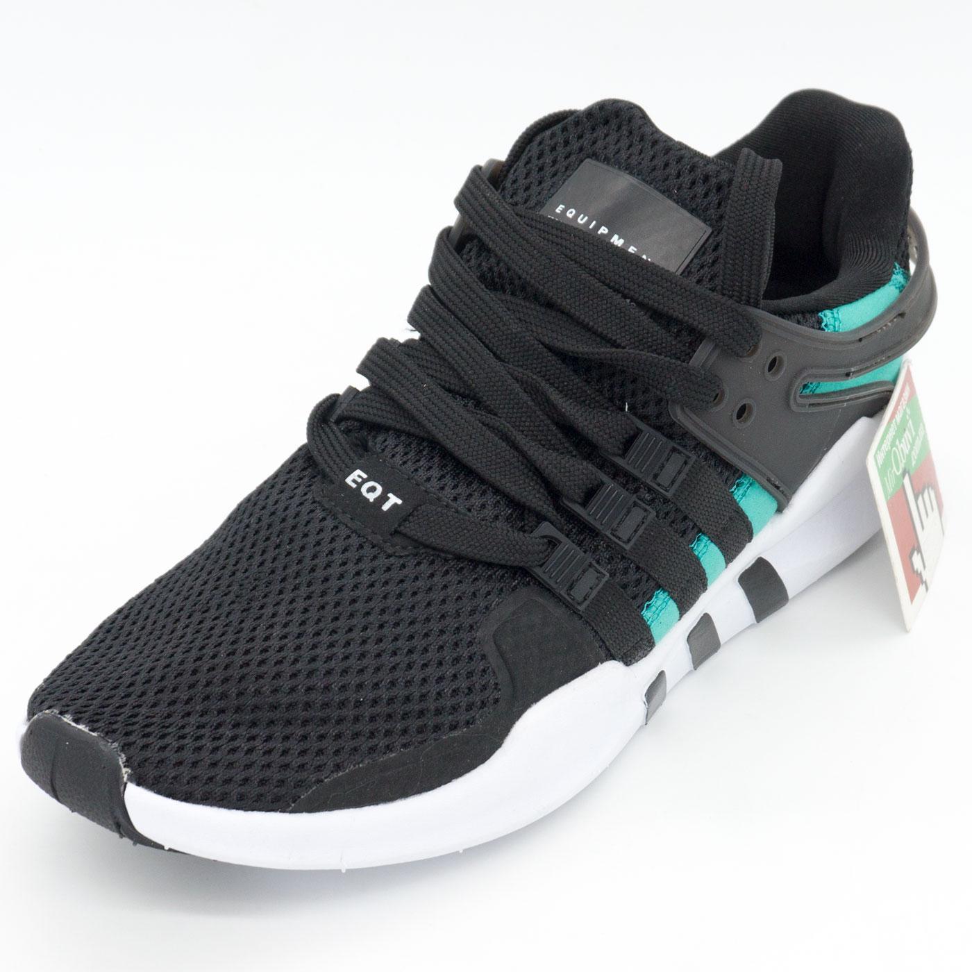 фото front Кроссовки Adidas Equipment support (EQT) черные с зеленым front