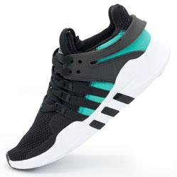 Кроссовки Adidas Equipment support (EQT) черные с зеленым