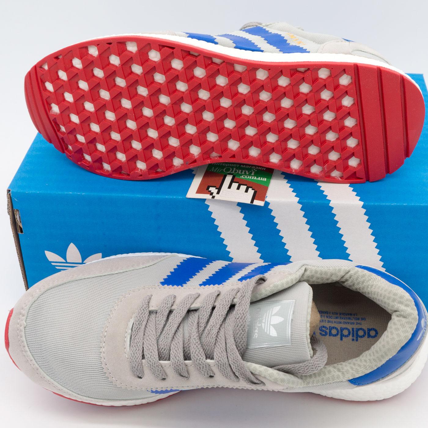 фото bottom Кроссовки для бега Adidas Iniki Runner серые с синим bottom