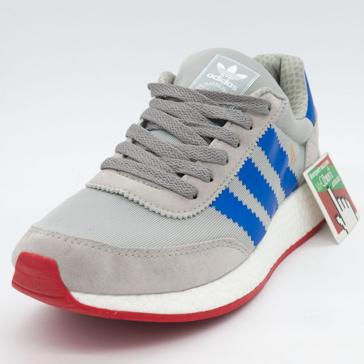 фото front Кроссовки для бега Adidas Iniki Runner серые с синим front