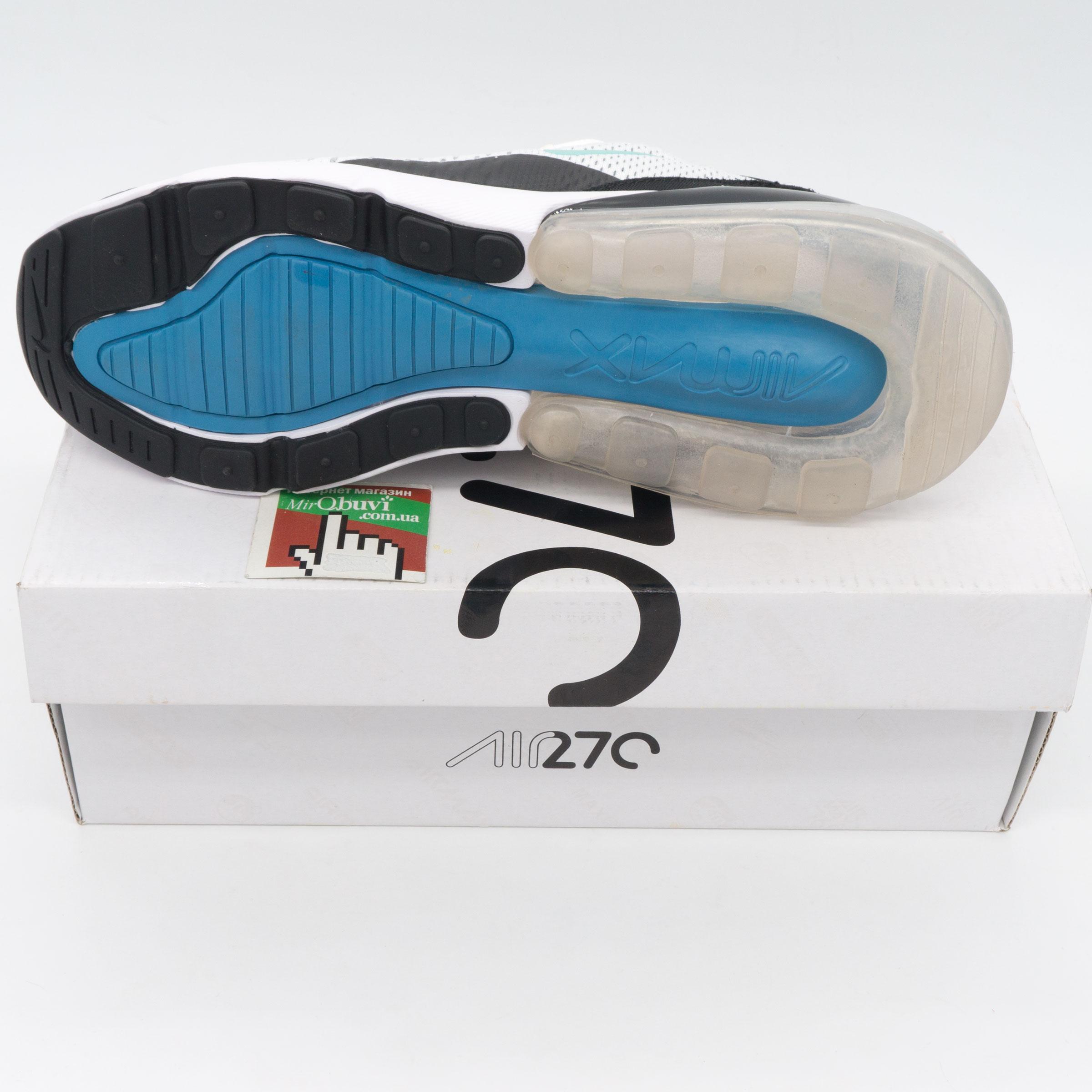 фото bottom Кроссовки Nike Air Max 270 Flyknit белые, бирюзовый значек. Топ качество! bottom