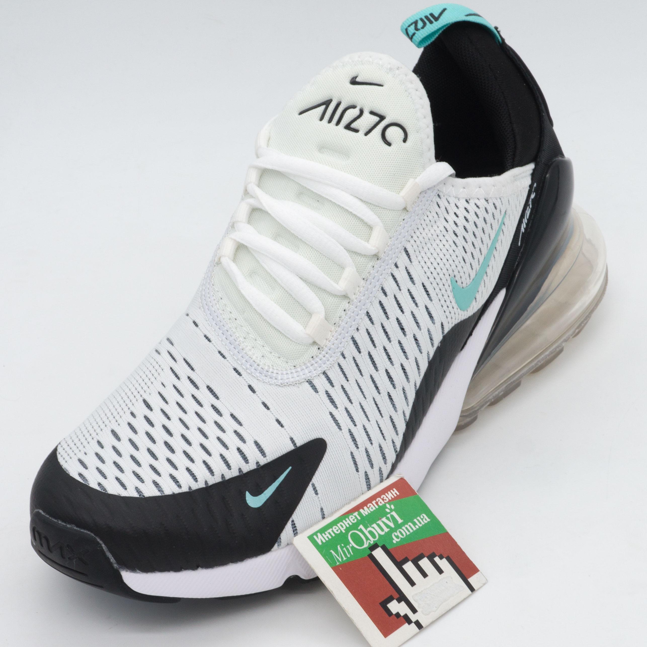 фото front Кроссовки Nike Air Max 270 Flyknit белые, бирюзовый значек. Топ качество! front