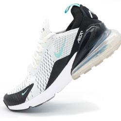 Кроссовки Nike Air Max 270 Flyknit белые, бирюзовый значек. Топ качество!