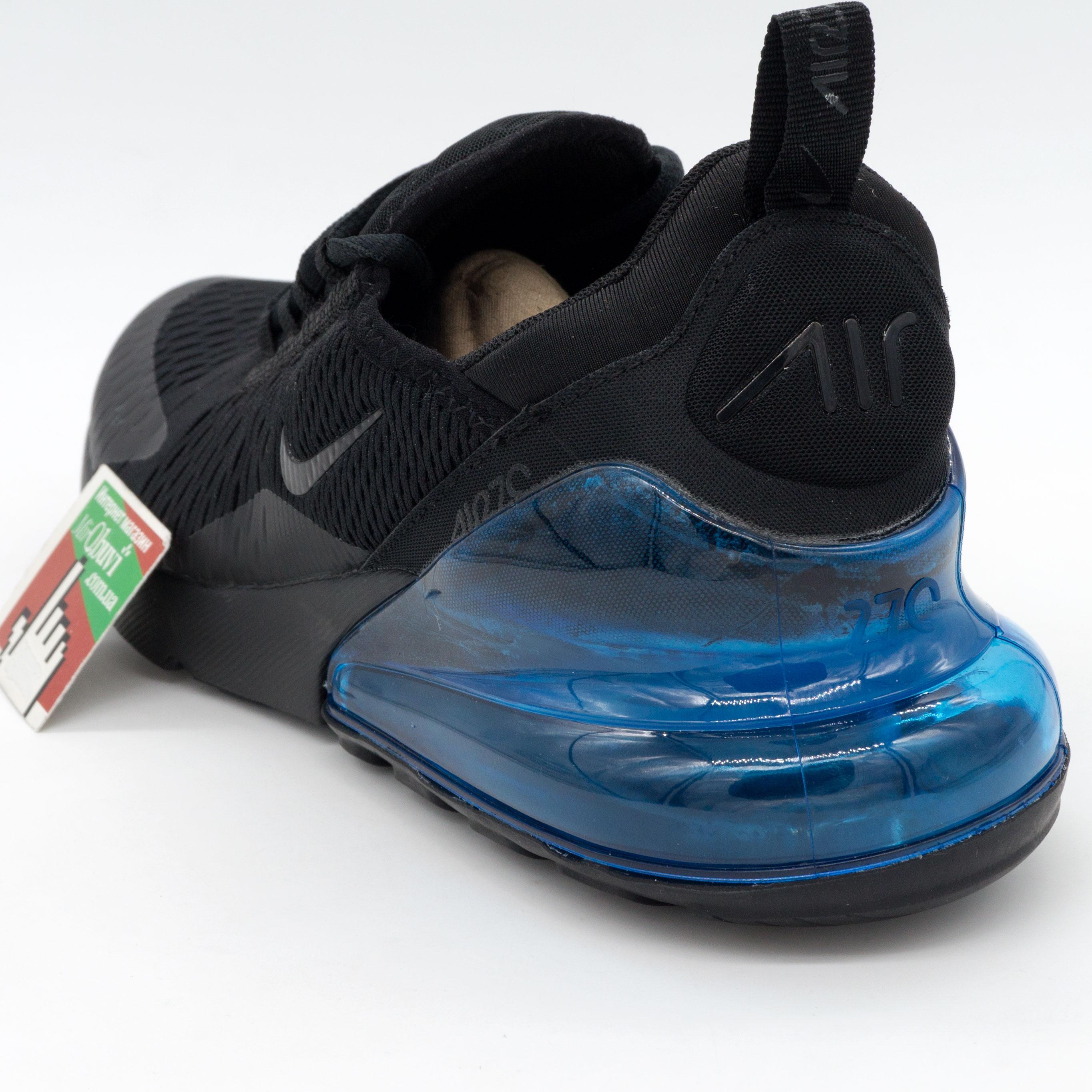 фото back Кроссовки Nike Air Max 270 Flyknit черные с синим. Топ качество! back