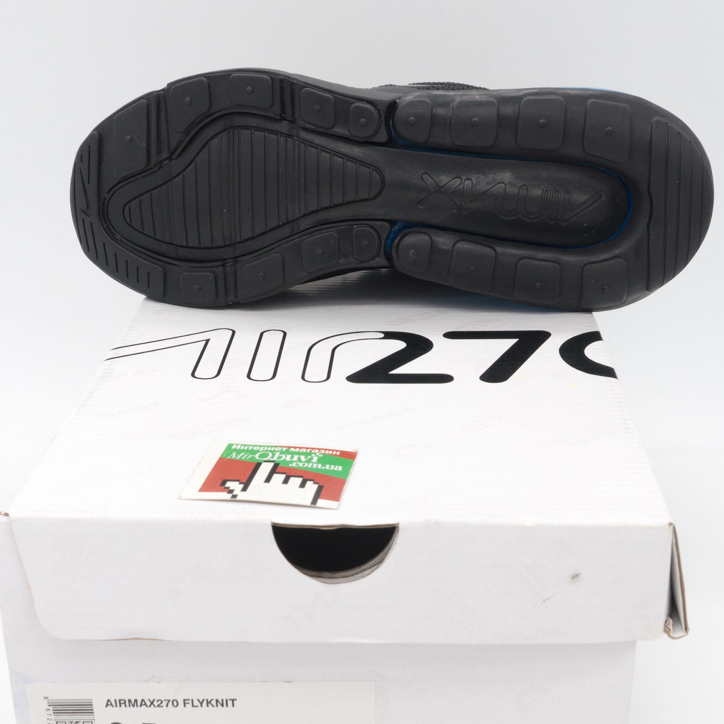 фото bottom Кроссовки Nike Air Max 270 Flyknit черные с синим. Топ качество! bottom
