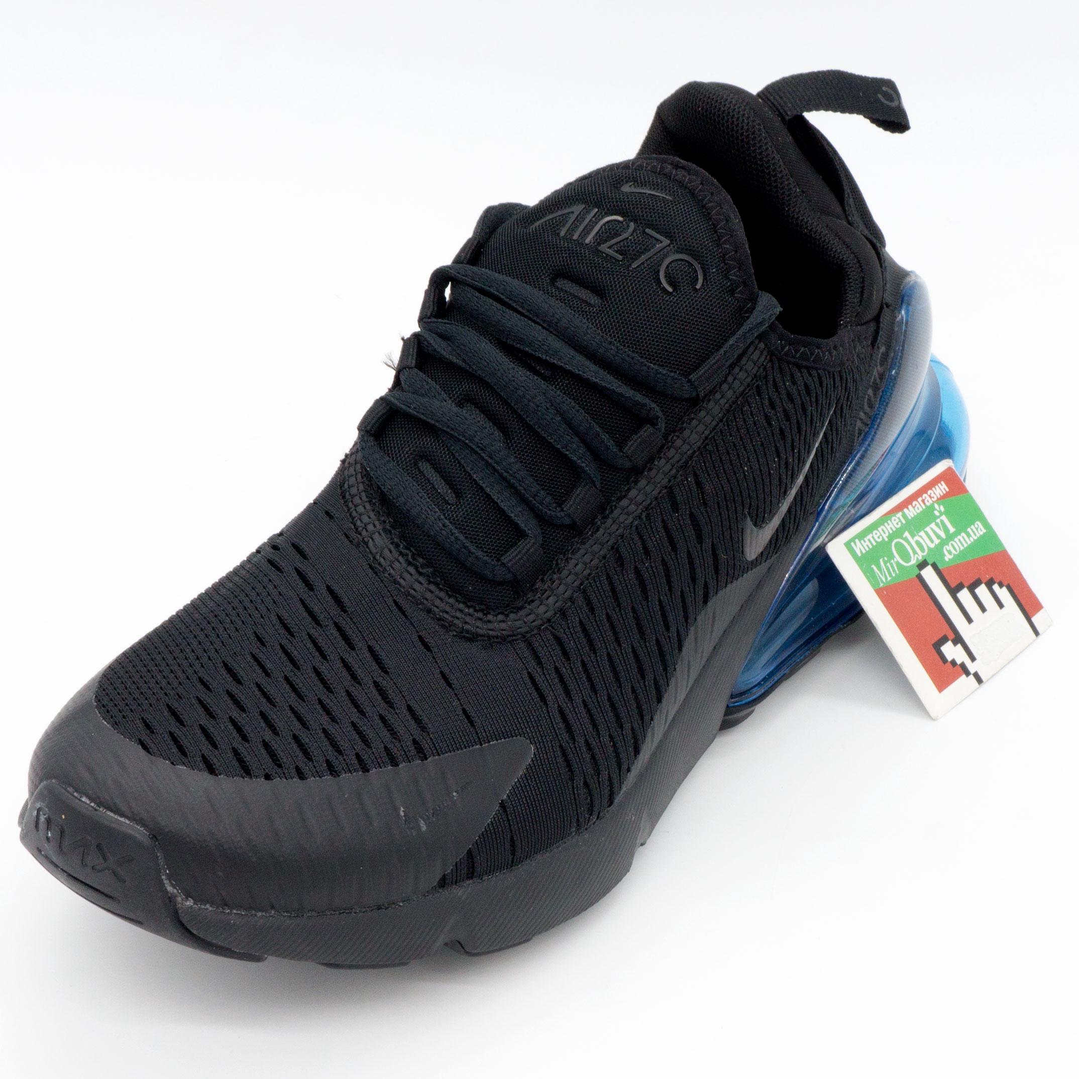 фото front Кроссовки Nike Air Max 270 Flyknit черные с синим. Топ качество! front