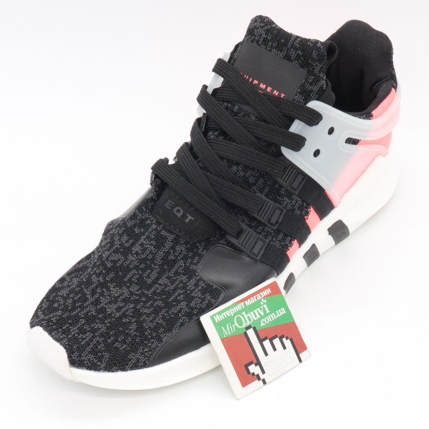 фото front Кроссовки Adidas Equipment Support (EQT) черные с розовым. Топ качество! front