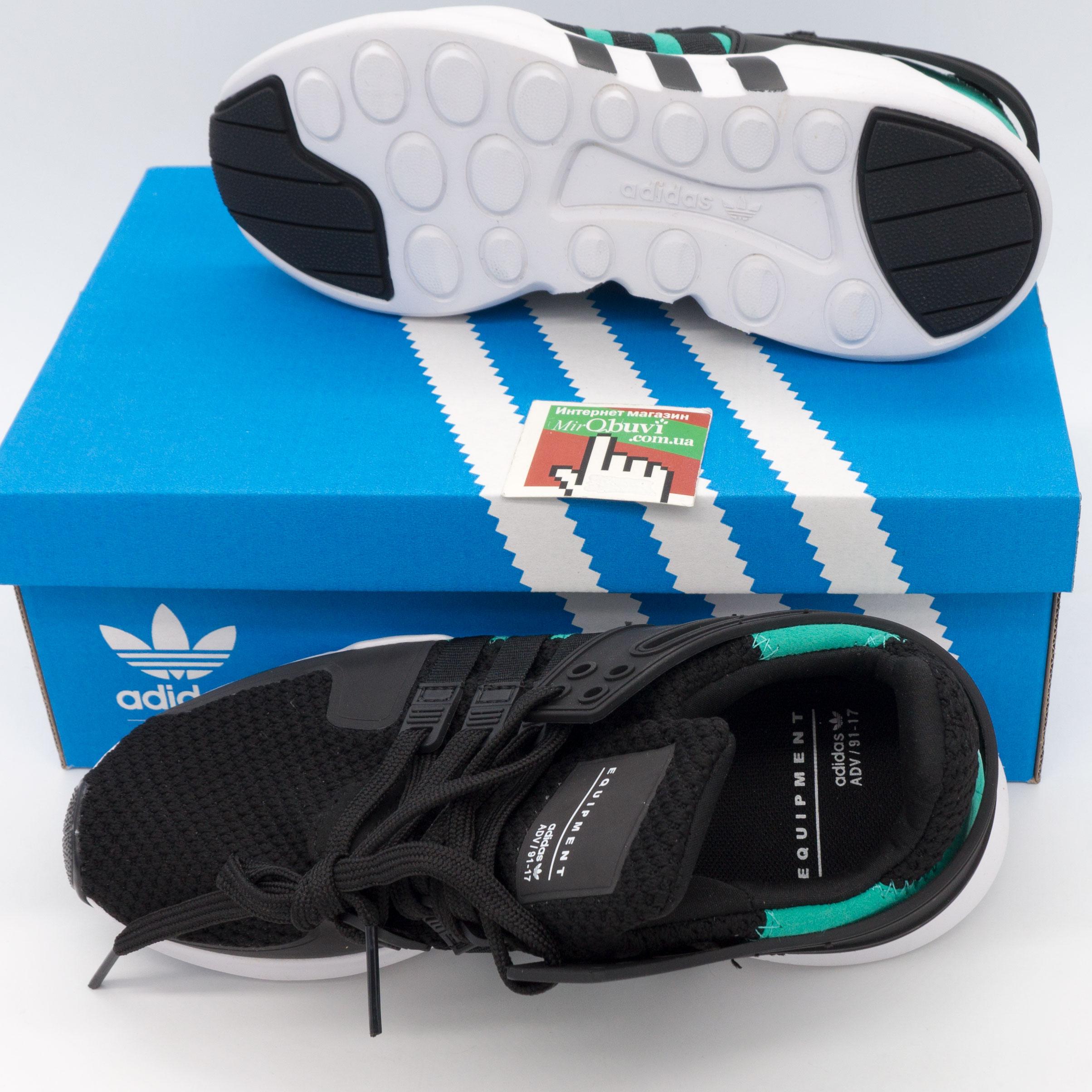 фото bottom Кроссовки Adidas Equipment Support (EQT) черные с зеленым. Топ качество! bottom