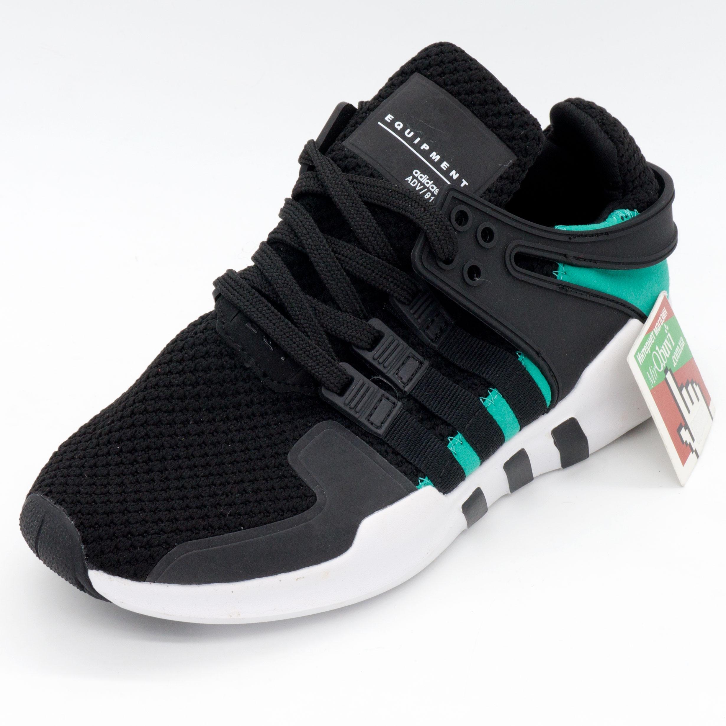 фото front Кроссовки Adidas Equipment Support (EQT) черные с зеленым. Топ качество! front