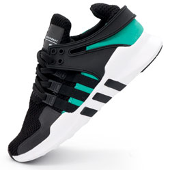 Кроссовки Adidas Equipment Support (EQT) черные с зеленым. Топ качество!