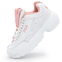 Женские бело-розовые кроссовки FILA Disruptor 2