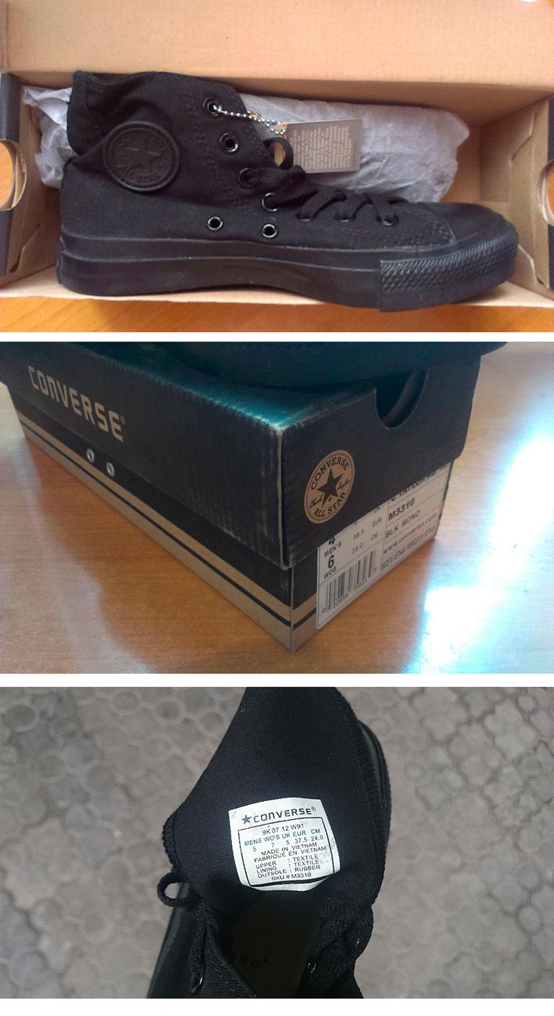 большое фото №6 Converse высокие полностью черные - Оригинал!