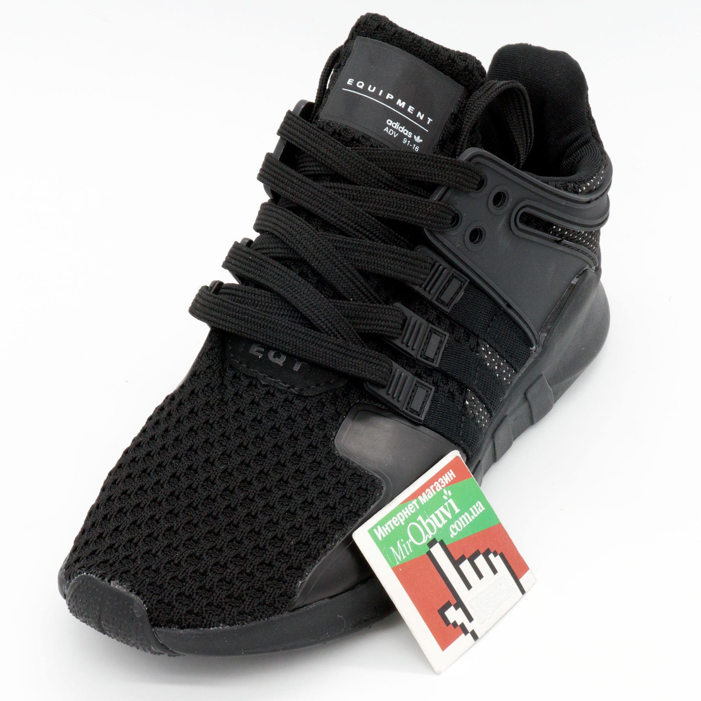 фото front Кроссовки Adidas Equipment support (EQT) полностью черные. Топ качество! front