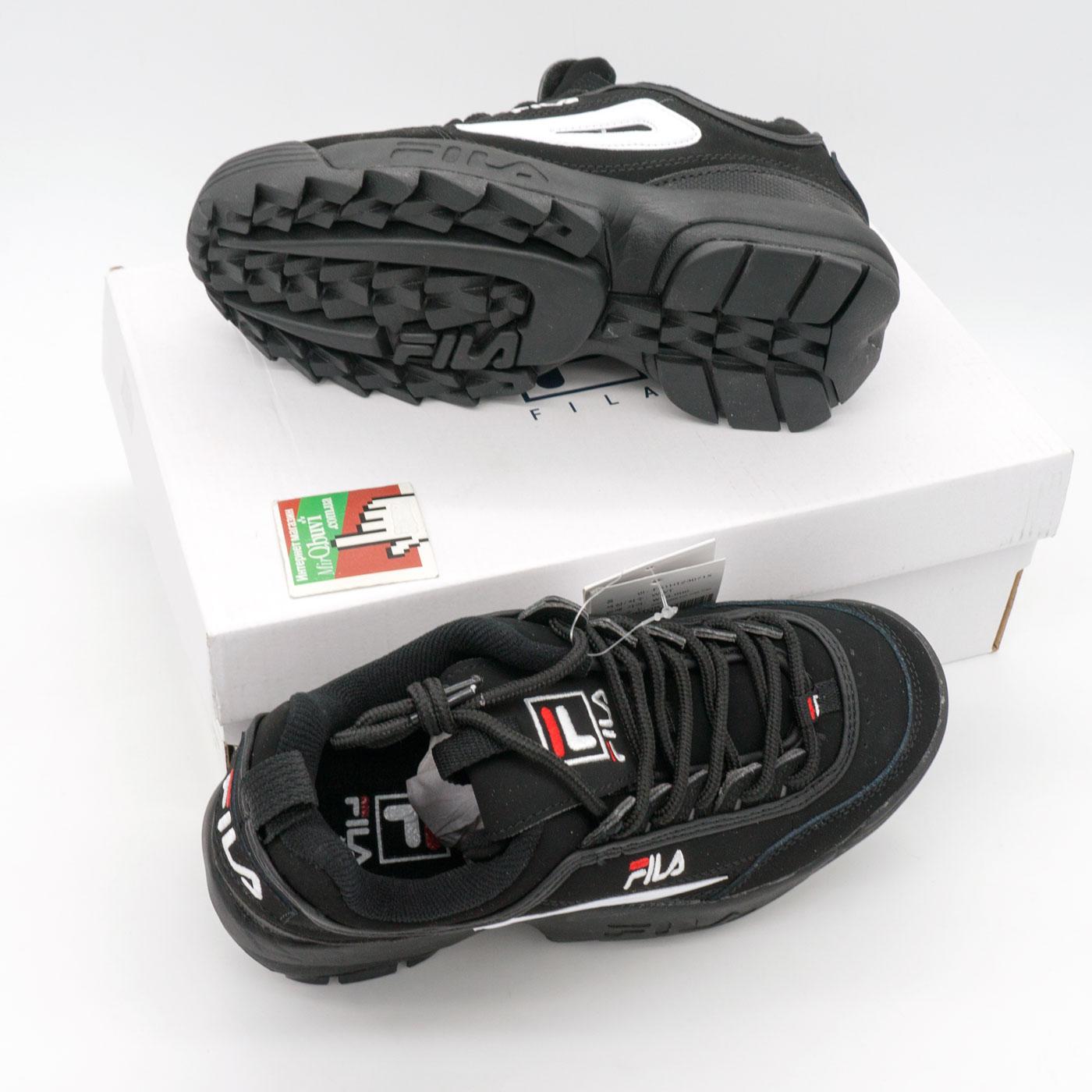 фото bottom Женские полностью черные с белым кроссовки FILA Disruptor 2. Топ качество! bottom