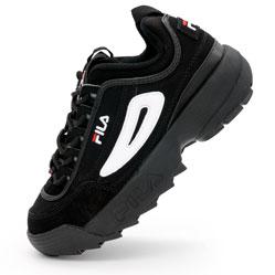 Женские полностью черные с белым кроссовки FILA Disruptor 2. Топ качество!