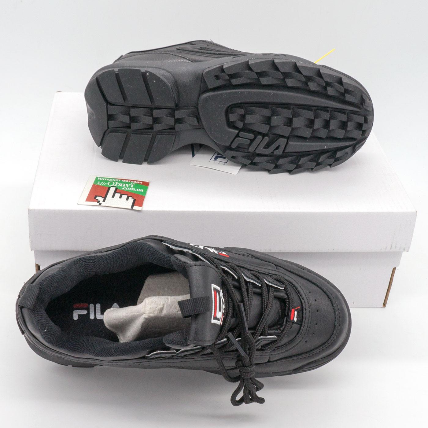 фото bottom Женские полностью черные кроссовки FILA Disruptor 2. Топ качество! bottom