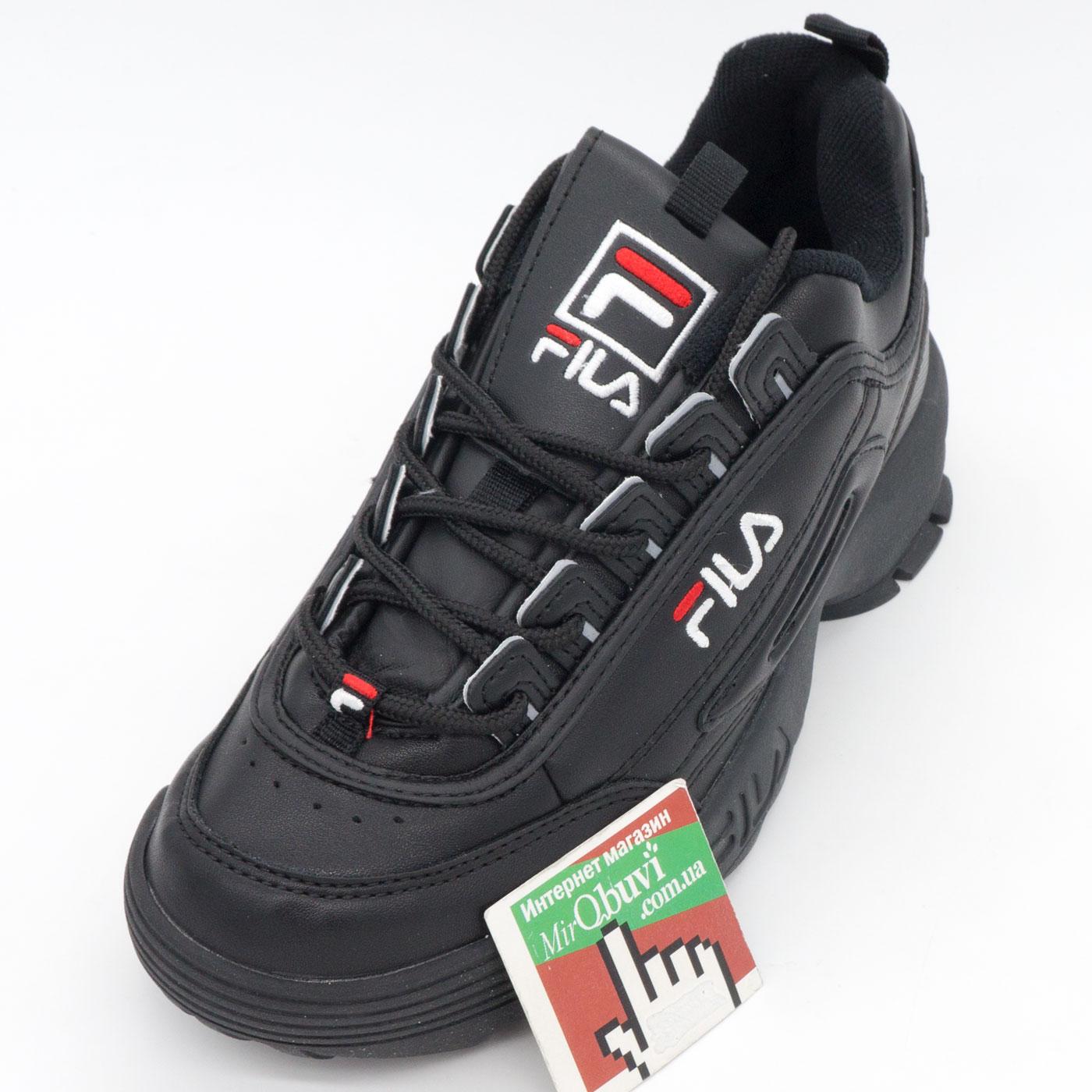фото front Женские полностью черные кроссовки FILA Disruptor 2. Топ качество! front