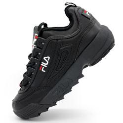 Женские полностью черные кроссовки FILA Disruptor 2. Топ качество!