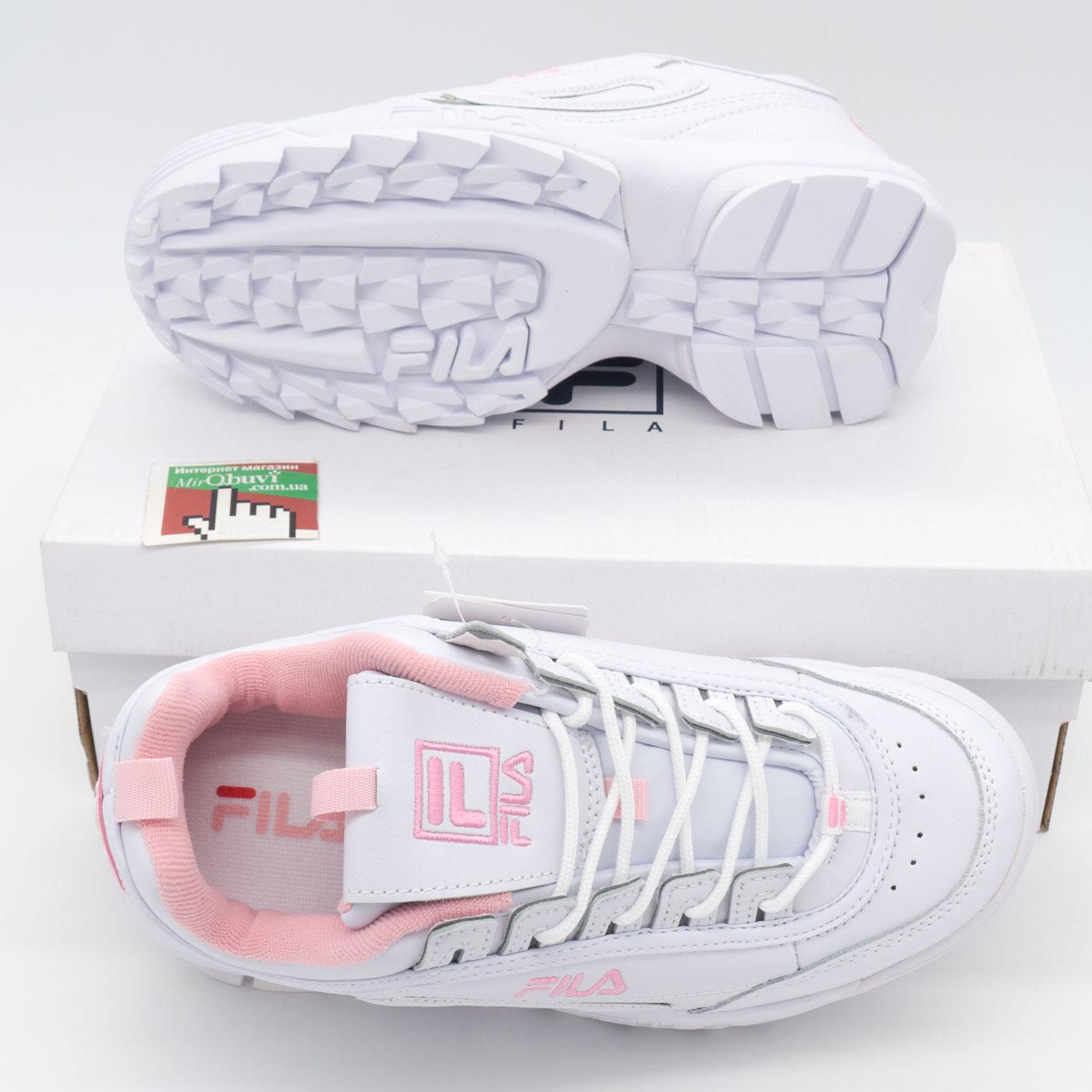 фото bottom Женские белые с розовым кроссовки FILA Disruptor 2. Топ качество! bottom