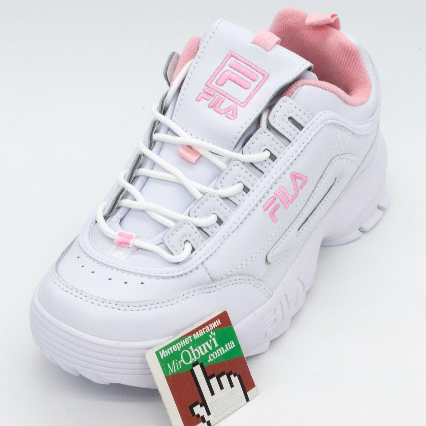 фото front Женские белые с розовым кроссовки FILA Disruptor 2. Топ качество! front