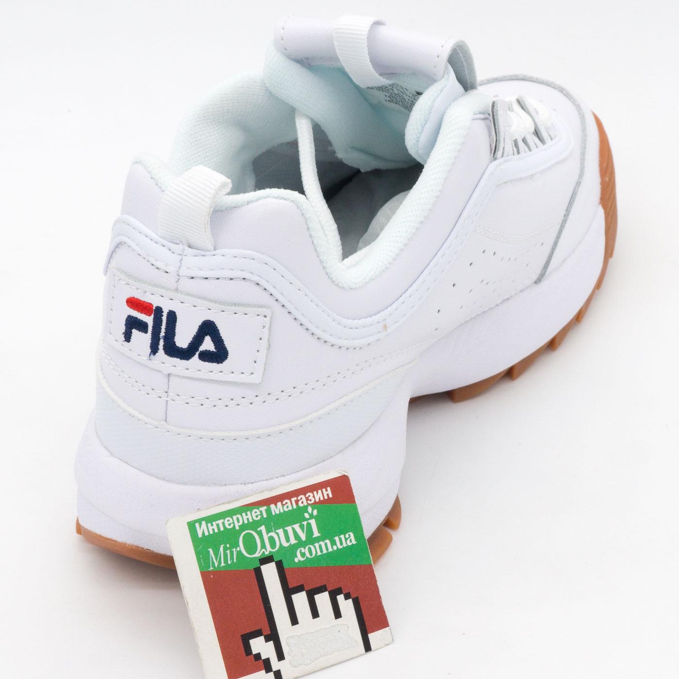 фото back Женские кроссовки белые с коричневой подошвой FILA Disruptor 2. Топ качество! back