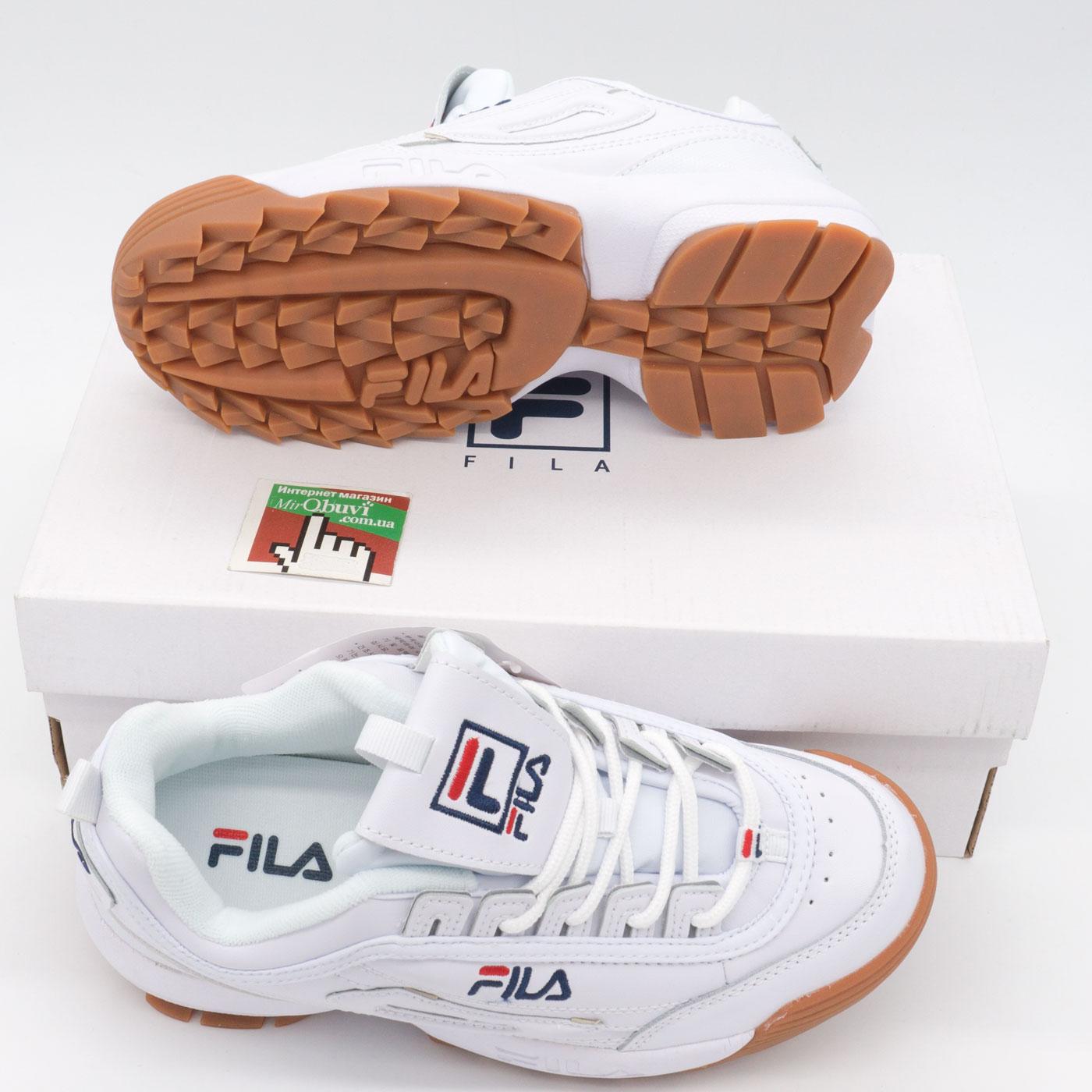 фото bottom Женские кроссовки белые с коричневой подошвой FILA Disruptor 2. Топ качество! bottom