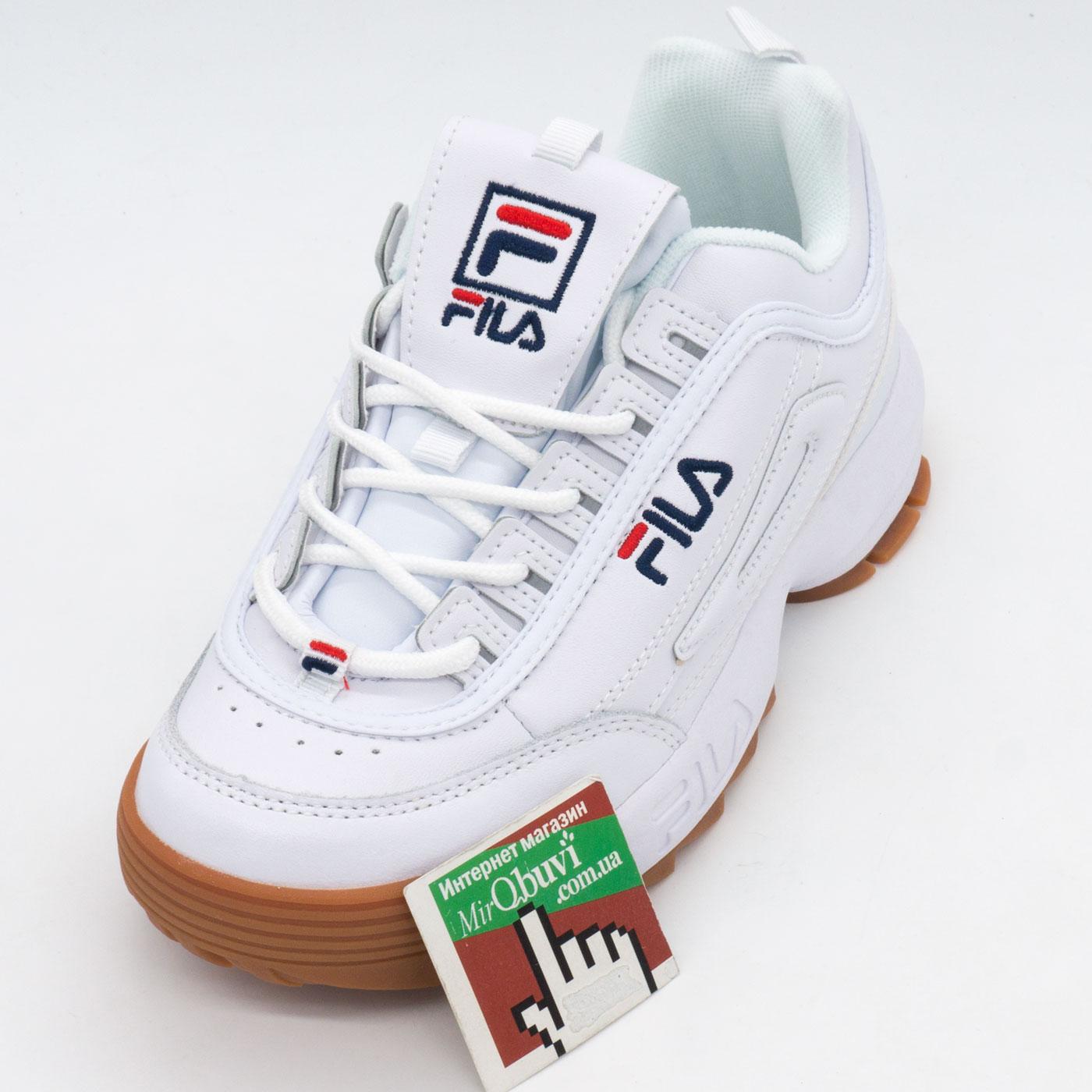 фото front Женские кроссовки белые с коричневой подошвой FILA Disruptor 2. Топ качество! front