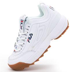 Женские кроссовки белые с коричневой подошвой FILA Disruptor 2. Топ качество!