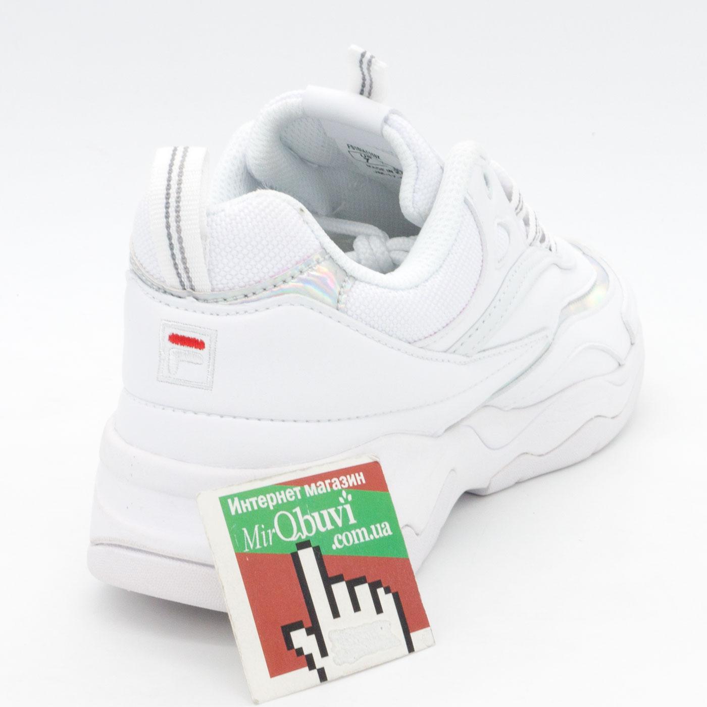 фото front Женские белые кроссовки FILA Ray серебристые. Топ качество! front